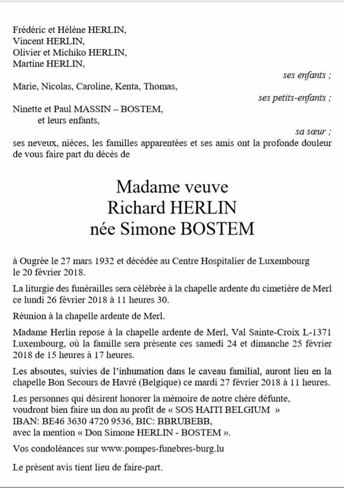 Madame Richard HERLIN née Simone BOSTEM